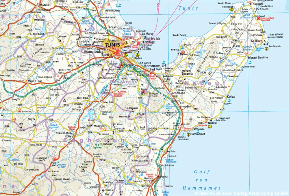 Tunesien Karte.Tunesien 1 600 000 Mit Djerba 1 300 000 Reise Know How