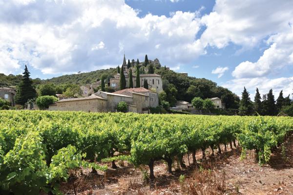 Der malerische Ort La Roque-sur-Cèze, umgeben von Weinfeldern